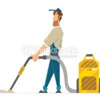 Cartoon Man Cleaning Carpet
